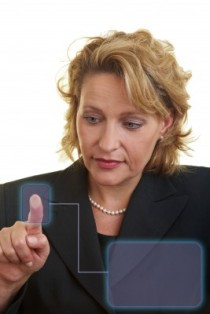 biometric scanning of a womens finger