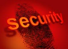 biometrics security a fingerprint on a red backround