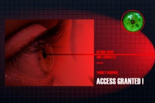 retinal scanner door lock eye being scanned